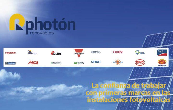 la confianza de trabajar con primeras marcas en las instalaciones fotovoltaicas